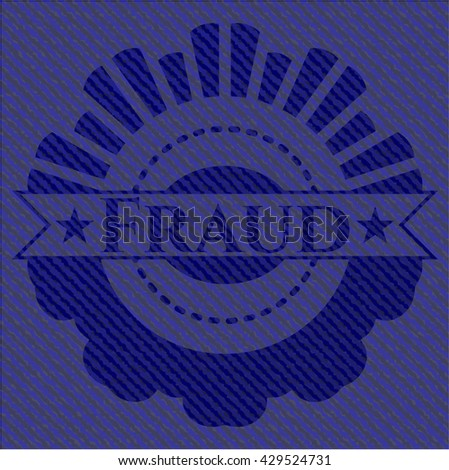 Fraud emblem with jean texture