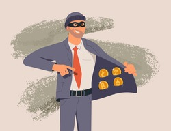 Fraudster sells fake cryptocurrency, internet crime flat vector illustration. Hacker character frauding web online