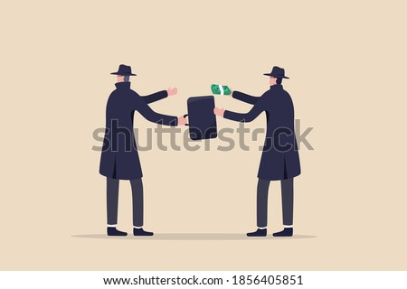 Fraudulent business, bribery, cheat and corruption or hacker who steal data and sell it on dark web concept, anonymous criminal guy with a lot of money buying stolen thing from other suspicious thief. Stock photo ©
