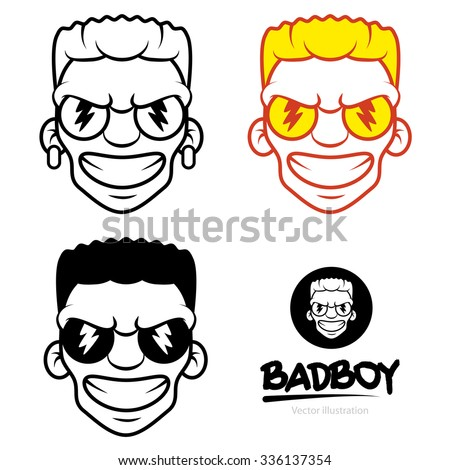 Freaky Bad Mad Boy Face Vector Icon Symbol Minimal Clip Art Illustration