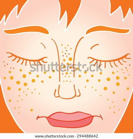 freckled young woman face with
