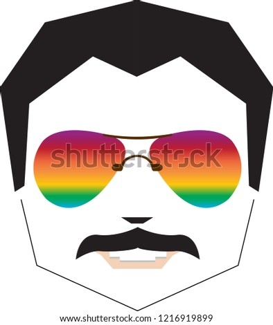 Freddie Mercury rainbow sunglasses face