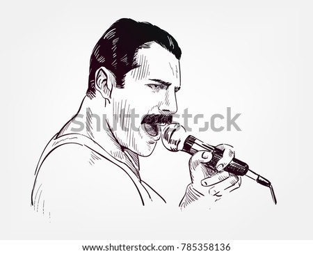 freddie mercury vector sketch