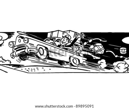 Free At Last - Man Leaving His Wife - Retro Clipart Illustration