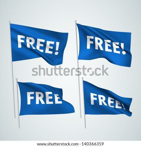 Free - blue vector flags. A set of wavy 3D flags created using gradient meshes. EPS 8 vector