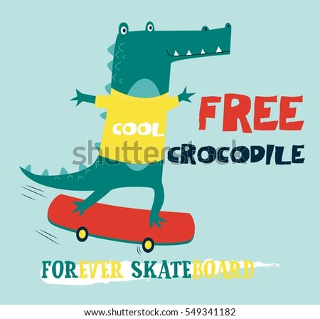 free crocodile vector illustration.T-shirt graphics for kids vector illustration