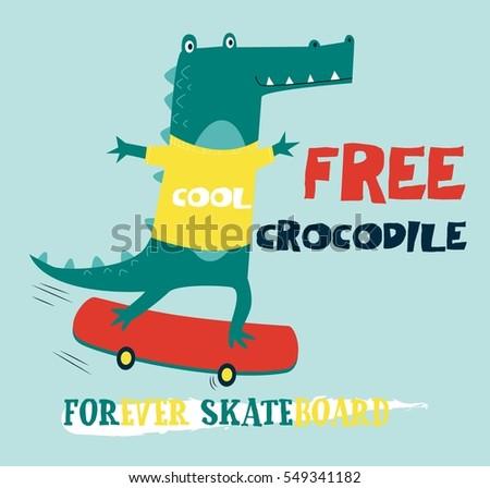free crocodile vector illustration.T-shirt graphics for kids vector illustration