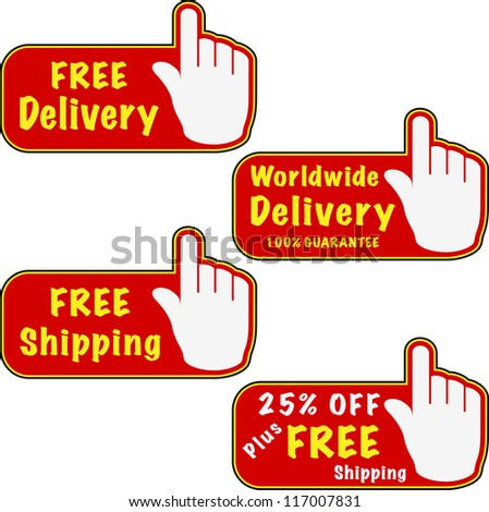 Free delivery and free shipping button and hand. Vector