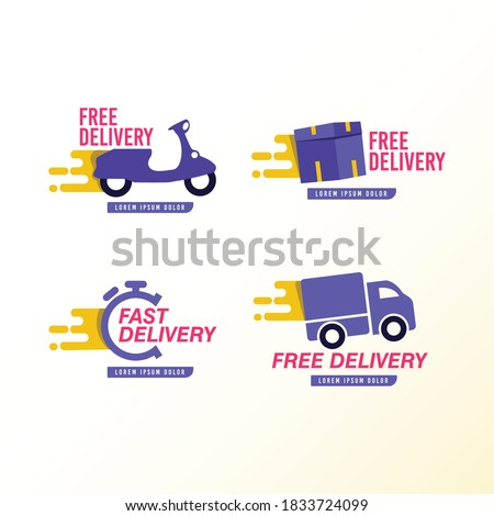 Free delivery and free shipping icon modern design template.