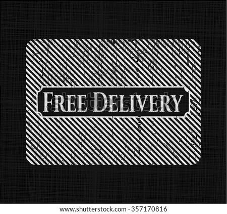 Free Delivery chalkboard emblem on black board