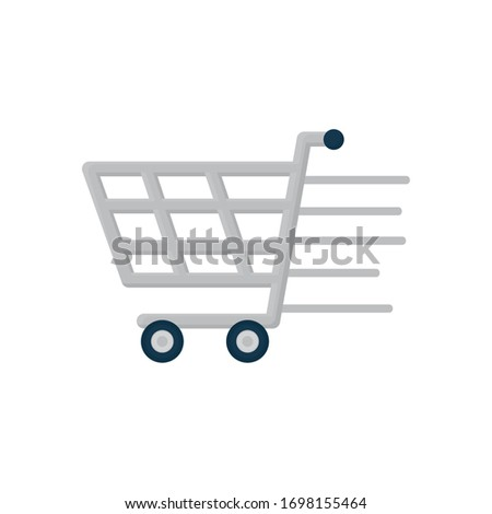free delivery concept, shopping cart icon over white background, flat style, vector illustration