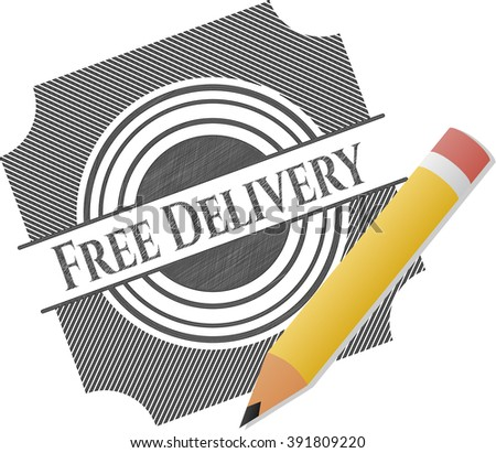 Free Delivery emblem draw with pencil effect