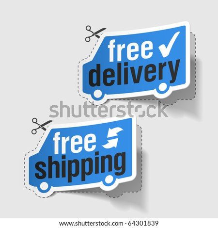 Free delivery free shipping labels Vector.