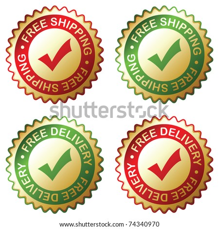 Free delivery, free shipping labels. Vector EPS 8.