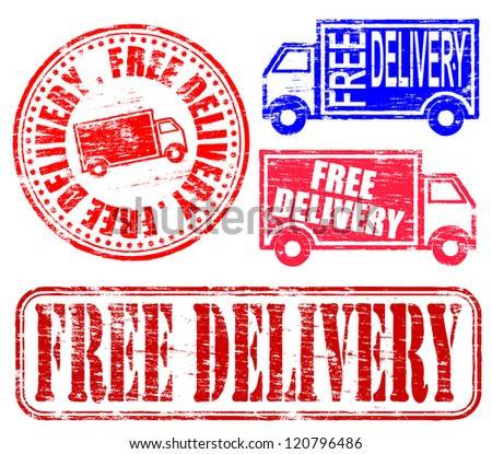 Free delivery grungy rubber stamp vector illustrations