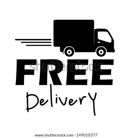 free delivery label over white background vector illustration
