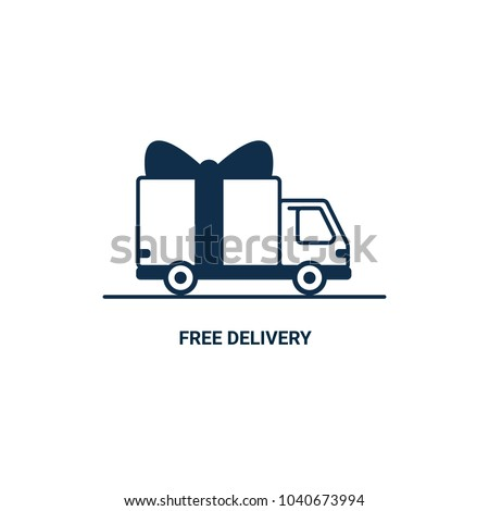 Free delivery Line icon. Thin line styled Delivery truck with bow isolated on white background. Delivery service Shipping by car or truck. outline style lorry with gift box, parcel. Vector