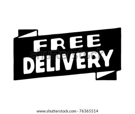 Free Delivery - Retro Ad Art Banner - stock vector