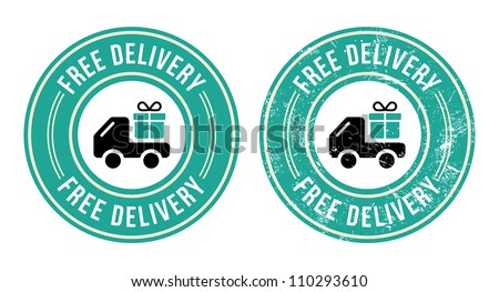 Free delivery retro grunge badge