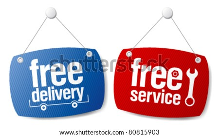 Free delivery signs set.