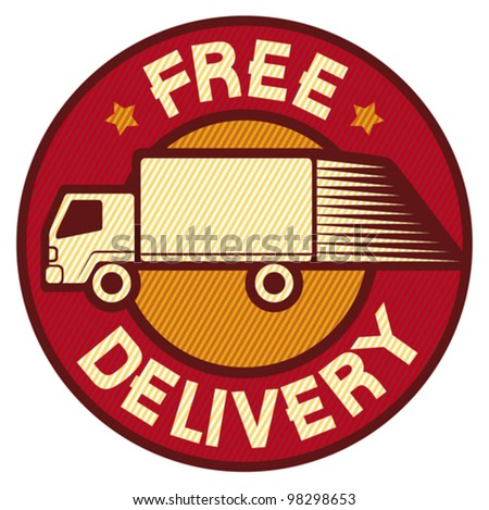 free delivery truck (Free delivery icon, emblem, design, badge, delivery truck)