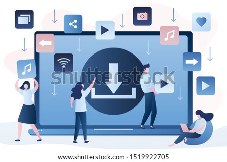 Free download concept background. Banner with upload sign on laptop screen. Torrent data piracy from servers. File transfer and sharing. People characters  in trendy style. Vector illustration