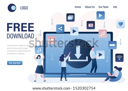 Free download landing page template. Background with upload sign on laptop screen. Torrent data piracy from servers. File transfer and sharing concept banner.Trendy style vector illustration
