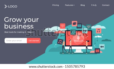 Free download tiny persons vector illustration landing page template design. Stream or upload stylized concept for torrent data piracy from servers, online media shopping, file transfer and sharing.