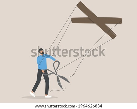 Free from manipulation concept. Puppet. Human manipulation. Foto stock ©