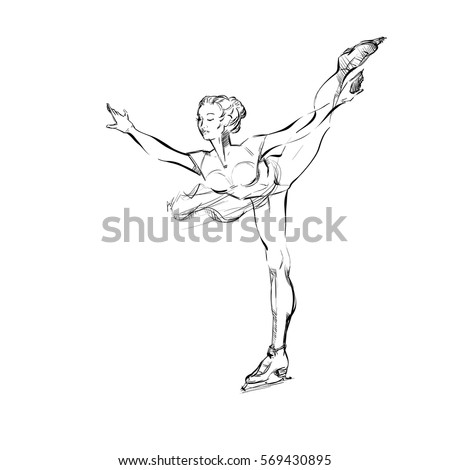Free Hand Draw Of A Young Figure Skater Girl Freehand Drawing Of A
