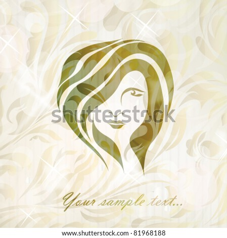 Free hand drawing abstract face of beautiful romantic girl isolated on floral background with your text (vector version eps 10). Perfect for sign, symbol, icon, web, emblem, label, logotype, logo.