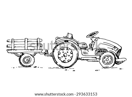 free hand drawn sketch tractor