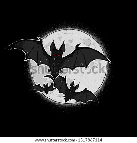 Free Hand Halloween Cartoon illustration of Three Bats against a full Moon. Vectorized with Lineart, Shading, Color n Background of all the elements neatly organized in well-defined layers n groups
