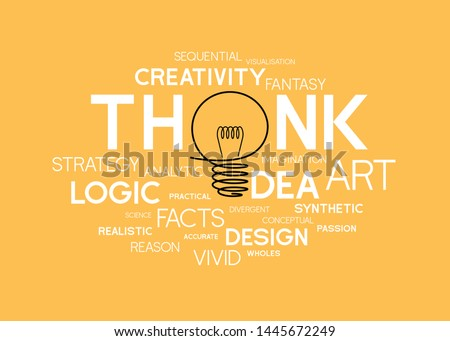 Free hand light bulb design composition interacting replace to i of think and idea words in group of word cloud typography that related to creativity and brain function on yellow background. vector
