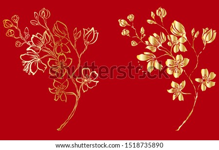 free hand sakura flower vector