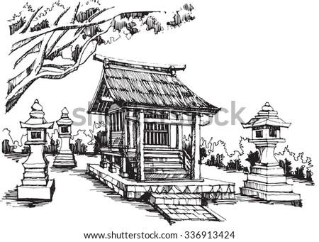 free hand sketch japanese shrine
