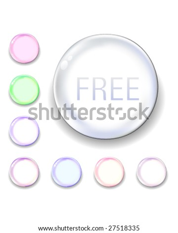 Free icon on translucent glass orb vector button