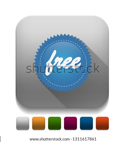 Free Icon With long shadow over app button