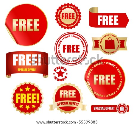 free labels set - vector - stock vector