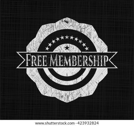 Free Membership chalk emblem, retro style, chalk or chalkboard texture