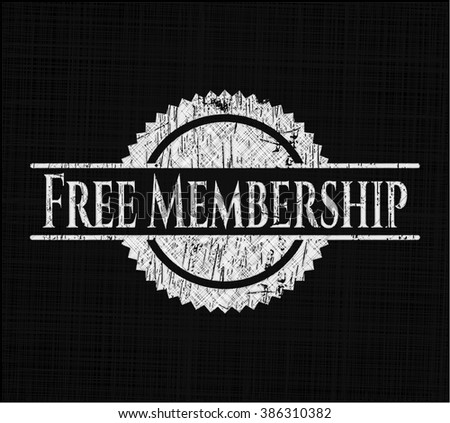 Free Membership chalkboard emblem on black board