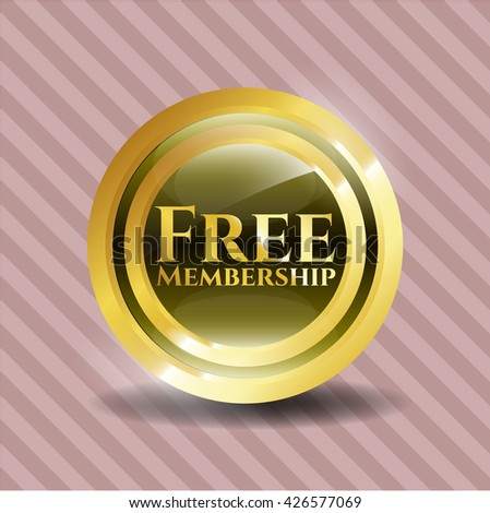 Free Membership golden badge or emblem