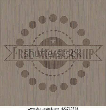 Free Membership retro wooden emblem