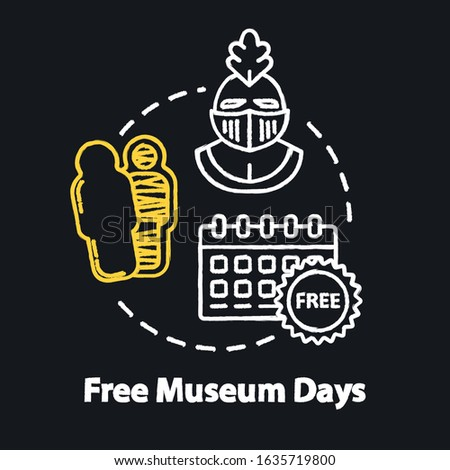 Free museum days chalk RGB color concept icon. Admission discounts, inexpensive guided tours idea. Budget travel pastime. Vector isolated chalkboard illustration on black background