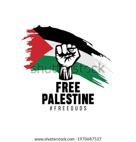 Free Palestine, Free Quds vector illustration
