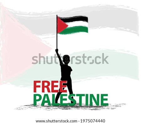 Free Palestine the boy stand with flag Vector illustration background. Pray for Palestine flag wallpaper, poster, flyer, banner, t-shirt, post vector illustration