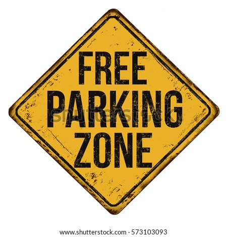 Free parking zone vintage rusty metal sign on a white background, vector illustration