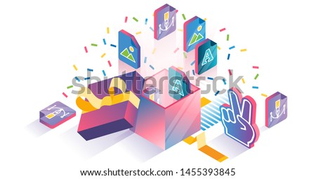 Free product samples download advert isometric concept vector illustration. Marketing strategy for online picture store. Special gift package release as promo campaign. Bonus surprise without charge.