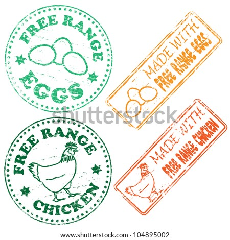 Free range chicken and eggs rubber stamp illustrations