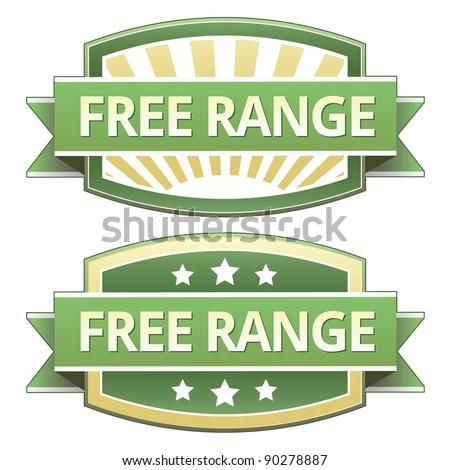 Free range food label, badge or seal with green and yellow color in vector
